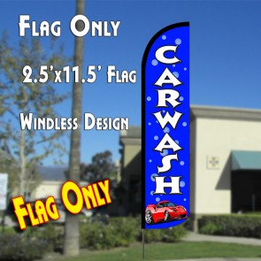 CAR WASH (Blue/Bubbles) Windless Polyknit Feather Flag (2.5 x 11.5 feet)