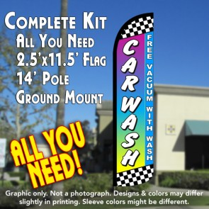 CAR WASH (Free Vacuum) Windless Feather Banner Flag Kit (Flag, Pole, & Ground Mt)