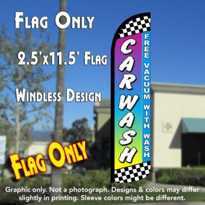 CAR WASH (Free Vacuum) Windless Polyknit Feather Flag (2.5 x 11.5 feet)