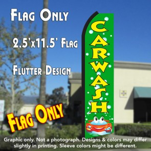 CAR WASH (Green/Yellow) Flutter Polyknit Feather Banner Flag (11.5 x 2.5 Feet)