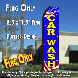 CAR WASH (Patriotic) Flutter Polyknit Feather Flag (11.5 x 2.5 feet)