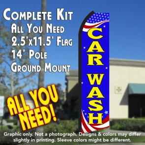 CAR WASH (Patriotic) Flutter Feather Banner Flag Kit (Flag, Pole, & Ground Mt)