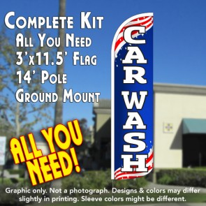 Car Wash (Patriotic) Windless Feather Banner Flag Kit (Flag, Pole, & Ground Mt)
