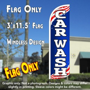 Car Wash (Patriotic) Windless Polyknit Feather Flag (3 x 11.5 feet)