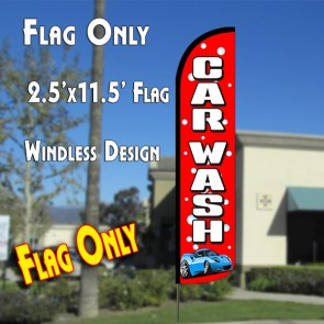 CAR WASH (Red/Bubbles) Windless Polyknit Feather Flag (2.5 x 11.5 feet)