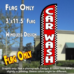 Car Wash (Red/Checkered) Windless Polyknit Feather Flag (3 x 11.5 feet)