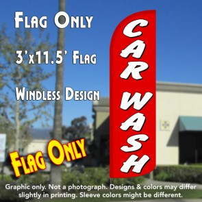 Car Wash (Red/White) Windless Polyknit Feather Flag (3 x 11.5 feet)