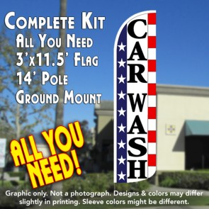 Car Wash (Stars & Stripes) Windless Feather Banner Flag Kit (Flag, Pole, & Ground Mt)