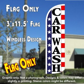Car Wash (Stars & Stripes) Windless Polyknit Feather Flag (3 x 11.5 feet)