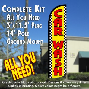 Car Wash (Yellow/Checkered) Windless Feather Banner Flag Kit (Flag, Pole, & Ground Mt)