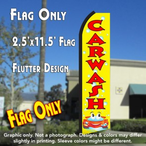 CAR WASH (Yellow/Red) Flutter Polyknit Feather Flag (11.5 x 2.5 feet)