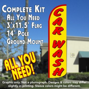 Car Wash (Yellow/Red) Windless Feather Banner Flag Kit (Flag, Pole, & Ground Mt)