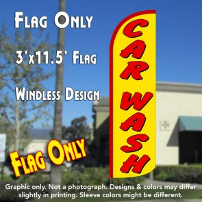 Car Wash (Yellow/Red) Windless Polyknit Feather Flag (3 x 11.5 feet)