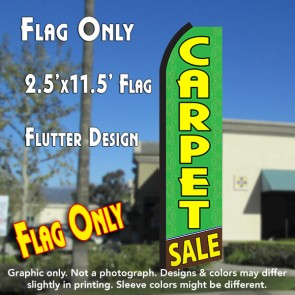 CARPET SALE (Green/Yellow) Flutter Polyknit Feather Flag (11.5 x 2.5 feet)