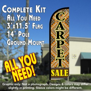 Carpet Sale Windless Feather Banner Flag Kit (Flag, Pole, & Ground Mt)