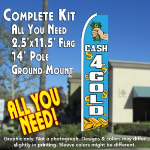 CASH 4 GOLD (Blue) Flutter Feather Banner Flag Kit (Flag, Pole, & Ground Mt)