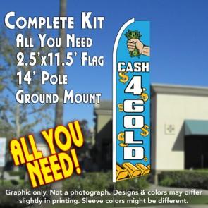 CASH 4 GOLD (Blue) Flutter Feather Banner Flag Kit (Flag, Pole, & Ground Mt)