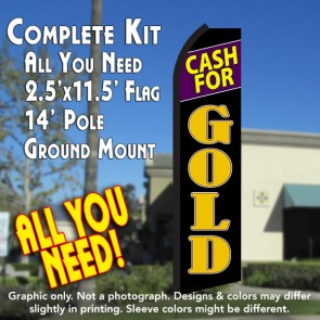 CASH FOR GOLD (Black/Gold) Flutter Feather Banner Flag Kit (Flag, Pole, & Ground Mt)