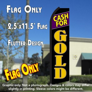 CASH FOR GOLD (Black/Gold) Flutter Polyknit Feather Flag (11.5 x 2.5 feet)