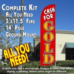 Cash for Gold (Red/Gold) Windless Feather Banner Flag Kit (Flag, Pole, & Ground Mt)