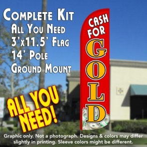 Cash for Gold (Red/Gold/$) Windless Feather Banner Flag Kit (Flag, Pole, & Ground Mt)