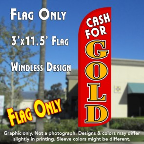 Cash for Gold (Red/Gold) Windless Polyknit Feather Flag (3 x 11.5 feet)