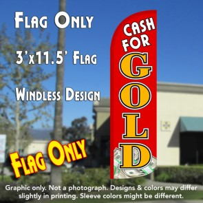 Cash for Gold (Red/Gold/$) Windless Polyknit Feather Flag (3 x 11.5 feet)