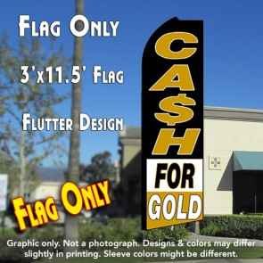 CASH FOR GOLD (Black/White/Gold) Flutter Feather Banner Flag (11.5 x 3 Feet)