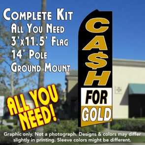 CASH FOR GOLD (Black/White/Gold) Flutter Feather Banner Flag Kit (Flag, Pole, & Ground Mt)