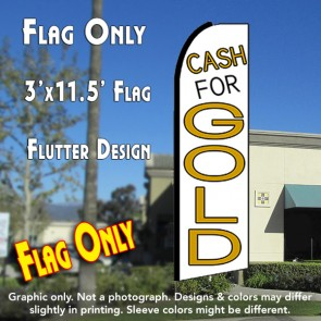 CASH FOR GOLD (White) Flutter Feather Banner Flag (11.5 x 3 Feet)