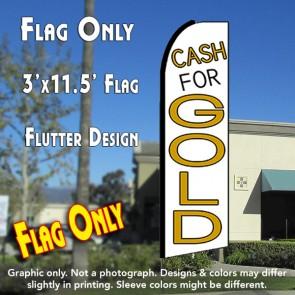 CASH FOR GOLD (White) Flutter Feather Banner Flag (11.5 x 3 Feet)