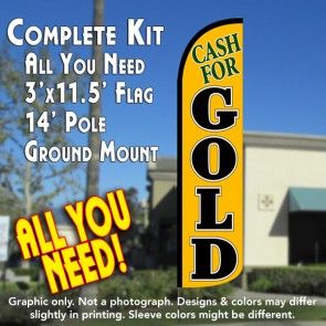 Cash for Gold (Yellow/Black) Windless Feather Banner Flag Kit (Flag, Pole, & Ground Mt)