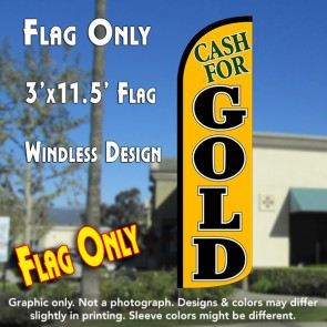Cash for Gold (Yellow/Black) Windless Polyknit Feather Flag (3 x 11.5 feet)