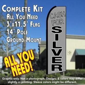 CASH FOR SILVER (Gray) Flutter Feather Banner Flag Kit (Flag, Pole, & Ground Mt)