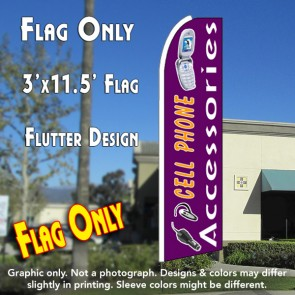 CELL PHONE ACCESSORIES (Purple) Flutter Feather Banner Flag (11.5 x 3 Feet)