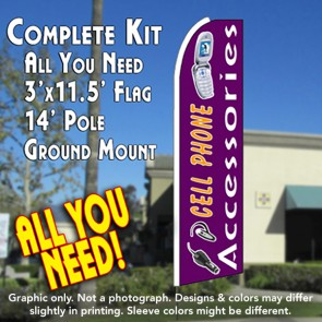 CELL PHONE ACCESSORIES (Purple) Flutter Feather Banner Flag Kit (Flag, Pole, and Ground Mount)
