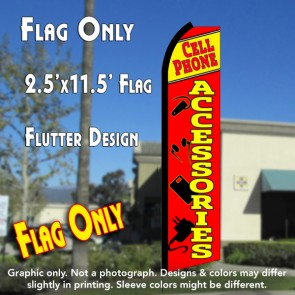 CELL PHONE ACCESSORIES (Yellow/Red) Flutter Polyknit Feather Flag (11.5 x 2.5 feet)