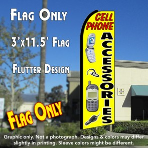 CELL PHONE ACCESSORIES (Yellow) Flutter Feather Banner Flag (11.5 x 3 Feet)