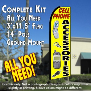 CELL PHONE ACCESSORIES (Yellow) Flutter Feather Banner Flag Kit (Flag, Pole, & Ground Mt)