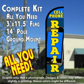 Cell Phone Repair Windless Feather Banner Flag Kit (Flag, Pole, & Ground Mt)