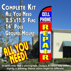 CELL PHONE REPAIR (Blue/Red) Windless Feather Banner Flag Kit (Flag, Pole, & Ground Mt)