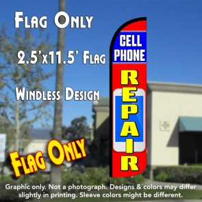 CELL PHONE REPAIR (Blue/Red) Windless Polyknit Feather Flag (2.5 x 11.5 feet)