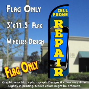 Cell Phone Repair Windless Polyknit Feather Flag (3 x 11.5 feet)