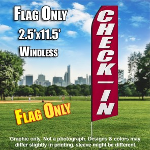 CHECK IN maroon white bold flutter flag