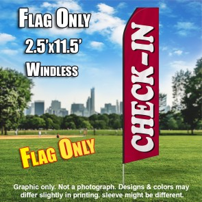 CHECK IN maroon horizontal white flutter flag