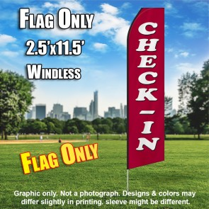 CHECK-IN maroon white flutter flag