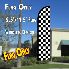 Checkered BLACK/WHITE Windless Polyknit Feather Flag (2.5 x 11.5 feet)