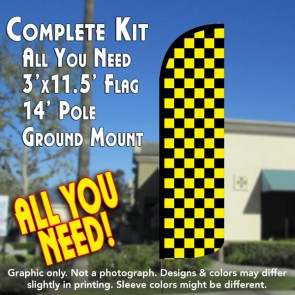 Checkered BLACK/YELLOW Windless Feather Banner Flag Kit (Flag, Pole, & Ground Mt)