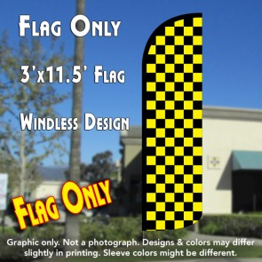 Checkered BLACK/YELLOW Windless Polyknit Feather Flag (3 x 11.5 feet)