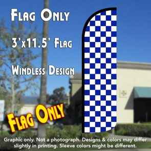 Checkered BLUE/WHITE Windless Polyknit Feather Flag (3 x 11.5 feet)